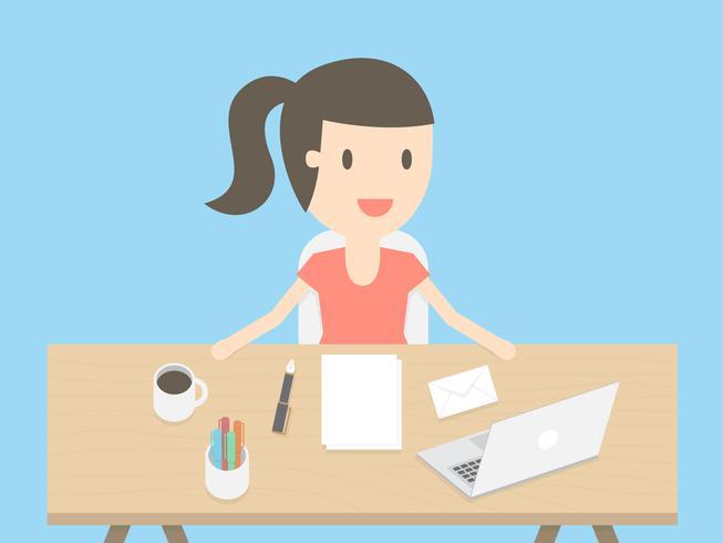 Giovane donna nel suo ufficio a casa vettore
