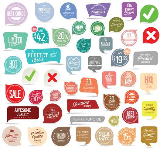 Collezione di adesivi ed etichette distintivi moderni vettore