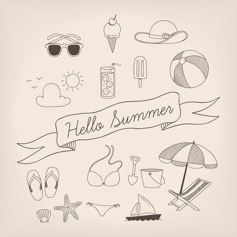 Insieme di estate disegnata a mano vettore
