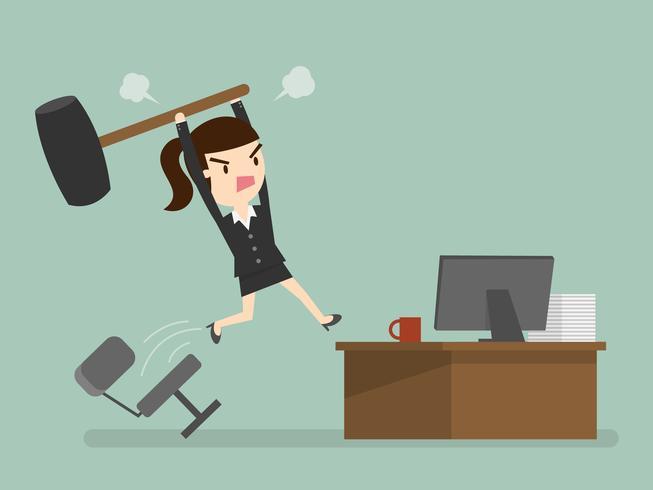 donna di affari arrabbiata che colpisce il computer vettore