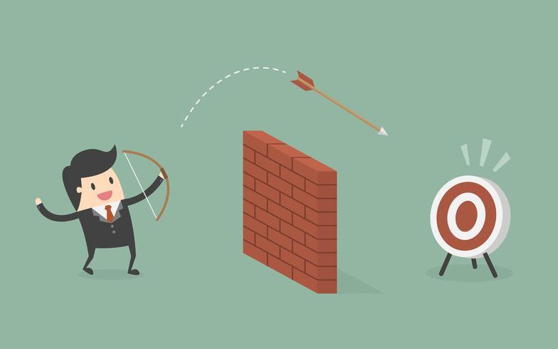 Uomo d'affari Shooting Arrow Over The Wall verso l'obiettivo. vettore