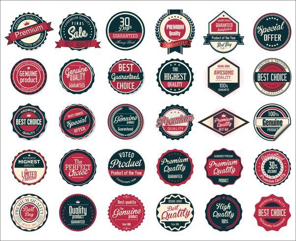 Collezione di etichette e distintivi vintage retrò vettore