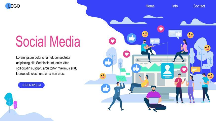 Insegna orizzontale di media sociali con lo spazio della copia vettore