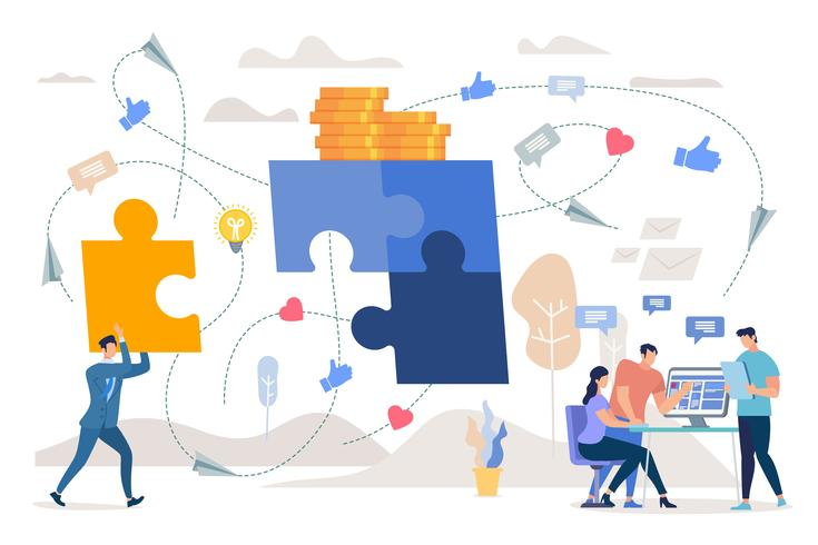 Lavoro di squadra sulla strategia di marketing vettore