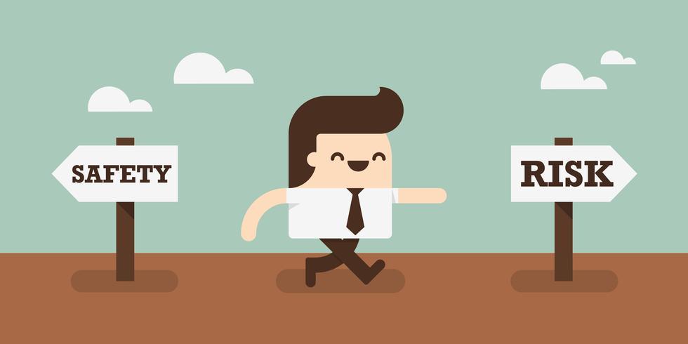 Uomo di affari che sceglie di correre un rischio vettore