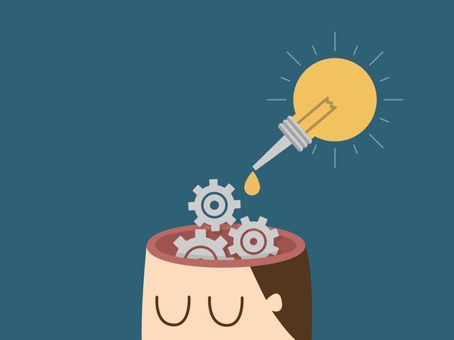 Uomo con ingranaggi in testa e contagocce idea lampadina vettore
