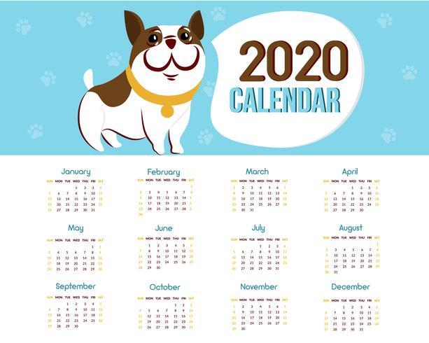 Calendario 2020 con un cane vettore