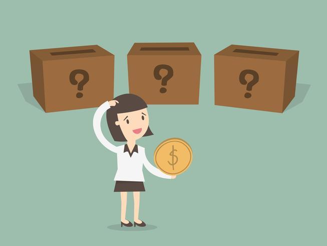 Donna di affari che sceglie in quale scatola mettere la moneta vettore