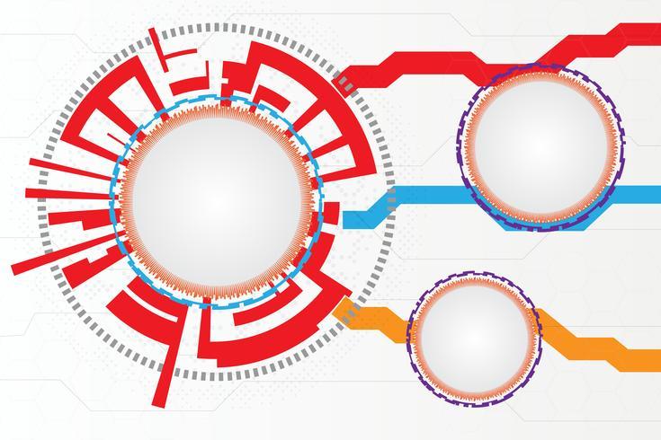 Grigio bianco Tecnologia astratta Cerchi sfondo vettore