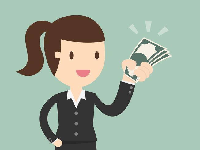 Donna in tuta azienda denaro vettore