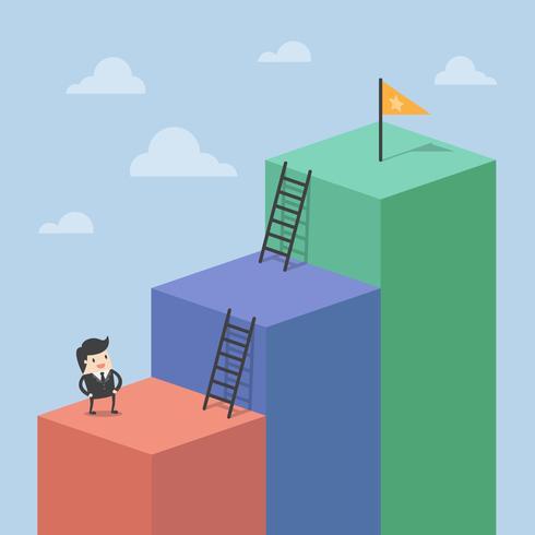 Uomo d'affari arrampicata su blocchi alti per raggiungere la bandiera vettore
