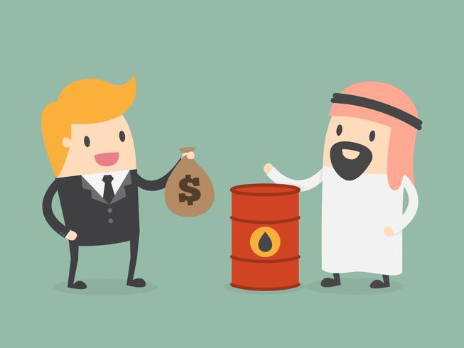 Uomini che commerciano denaro e petrolio vettore