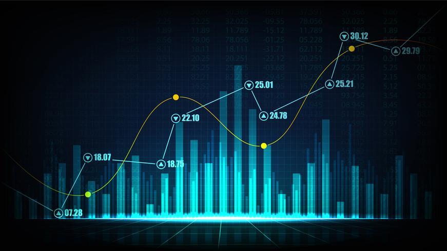 Grafico commerciale del mercato azionario o dei forex nel concetto grafico vettore
