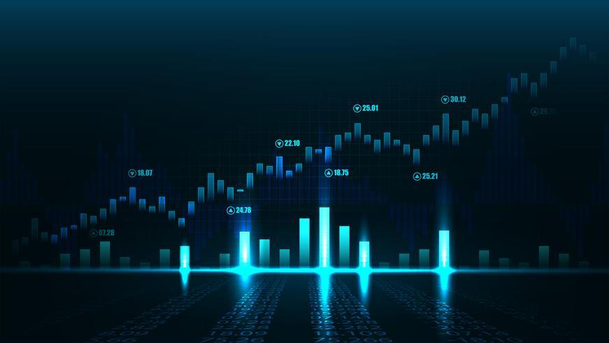 Grafico del mercato azionario o forex vettore