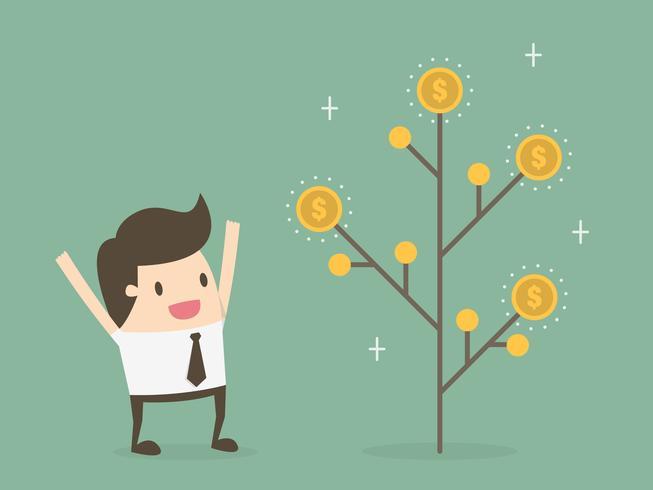 Uomo eccitato per la crescita dell'albero dei soldi vettore