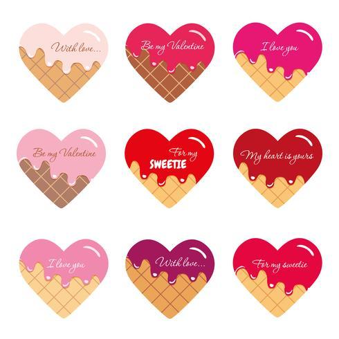 Adesivi per San Valentino. Cuori di cartone animato con testo di esempio. Colori vivaci e pastello. vettore