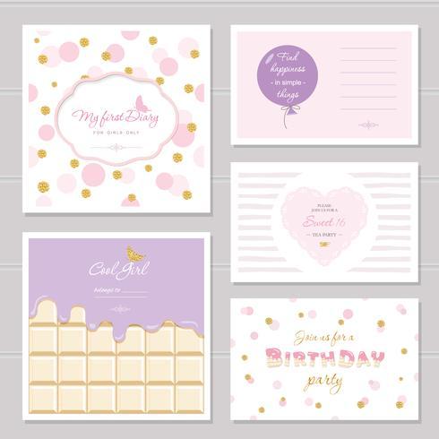 Design di carte carine con glitter per ragazze adolescenti vettore