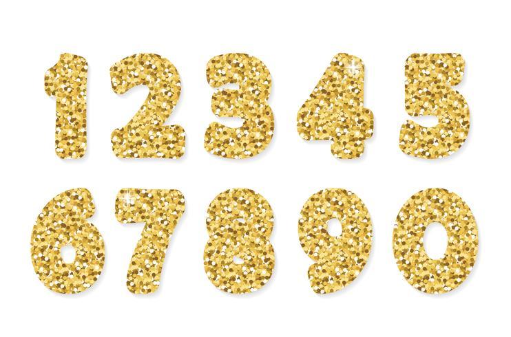 Numeri glitter oro. Per feste e compleanni. vettore