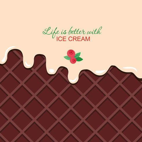 Crema di vaniglia fusa su sfondo di wafer al cioccolato con testo di esempio. vettore