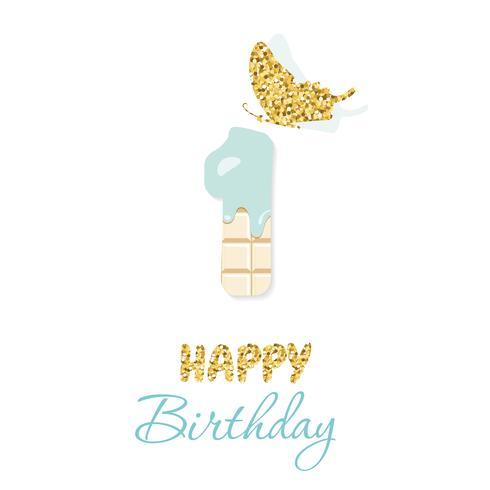 Auguri di buon compleanno con cioccolato numero 1 e farfalla glitter vettore