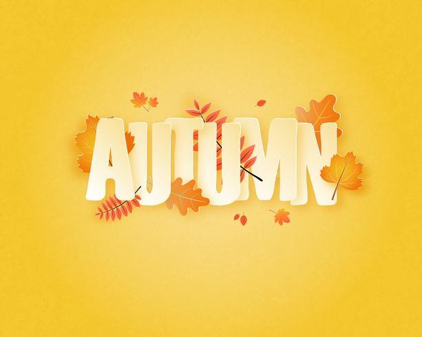 Calligrafia con foglie d'autunno vettore