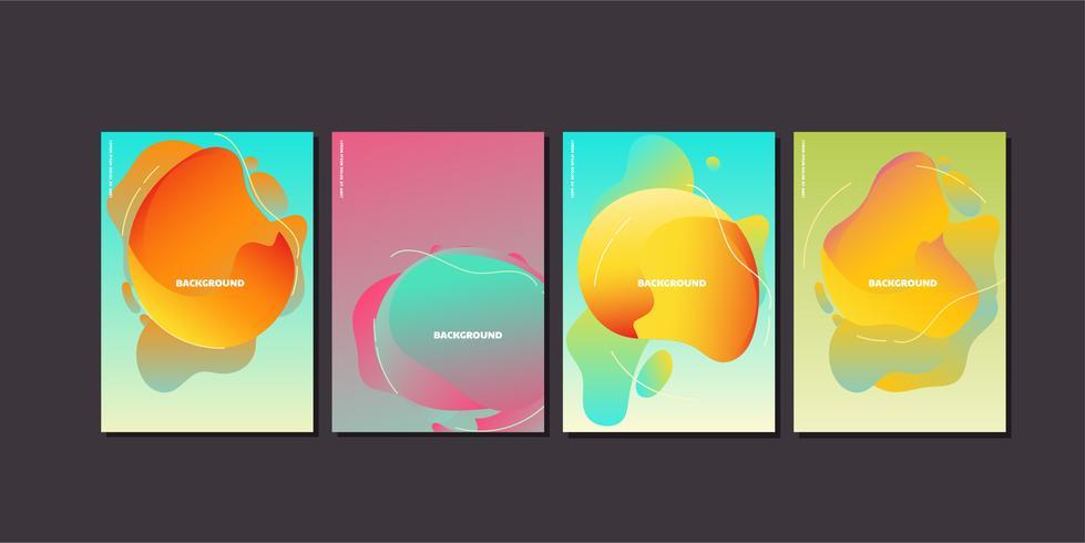 Poster di flusso liquido moderno onda colorata vettore