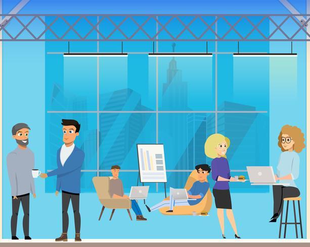Riunione d'affari nell'area condivisa creativa vettore