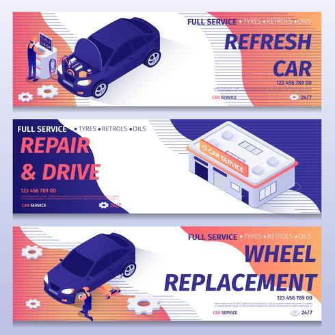 Set di banner di servizio di riparazione automatica vettore