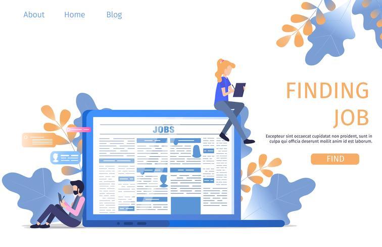 Pagina di destinazione della ricerca di lavoro online vettore