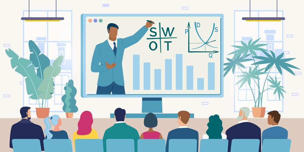 Videoconferenza con Business Team vettore