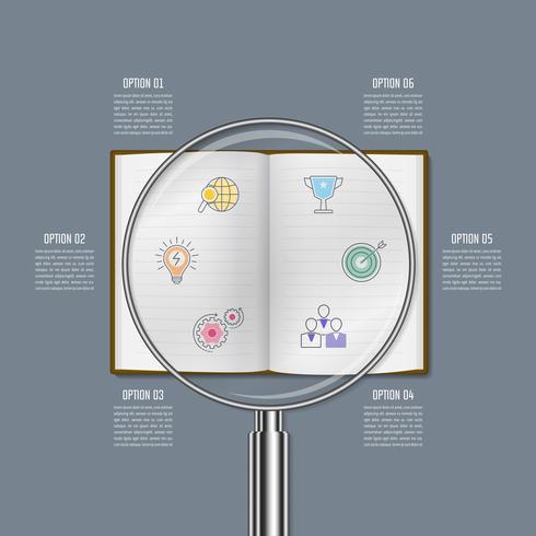Concetto di business design infografica lente d'ingrandimento con 6 opzioni, parti o processi. vettore
