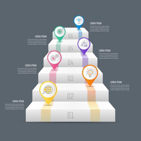 Concetto di business design infografica scala con 6 opzioni, parti o processi. vettore