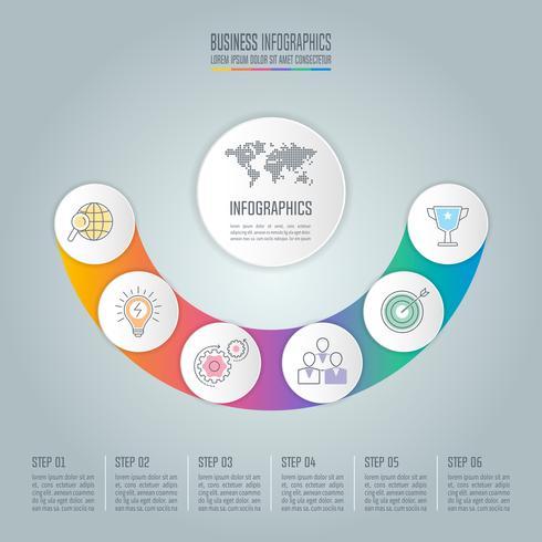 Curva il concetto di business design infografico con 6 opzioni, parti o processi. vettore