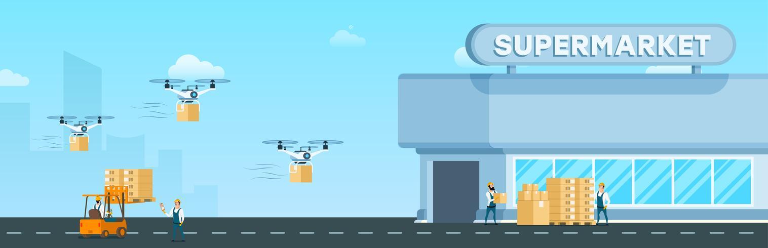 Drone volante Air Fast Delivery al supermercato vettore