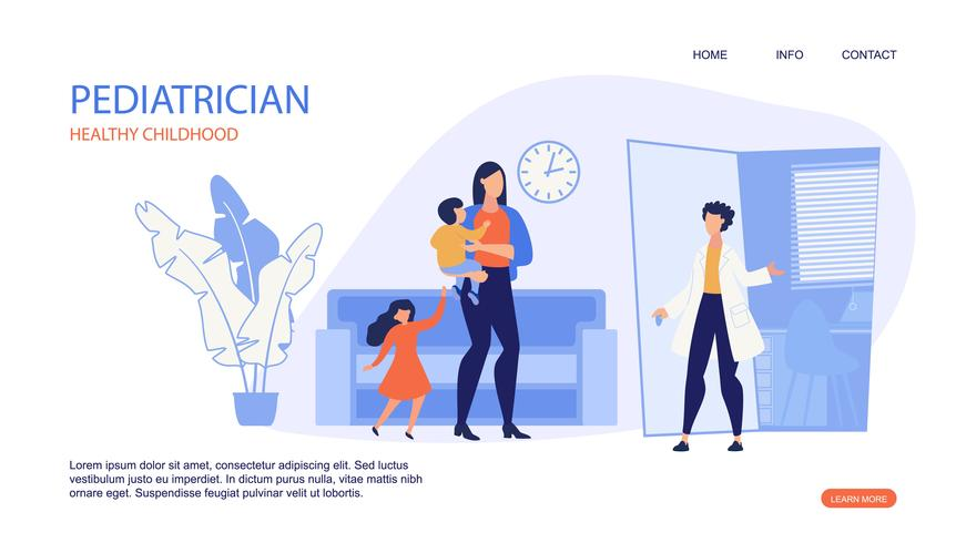 Infanzia in buona salute del pediatra dell'iscrizione dell'insegna. vettore