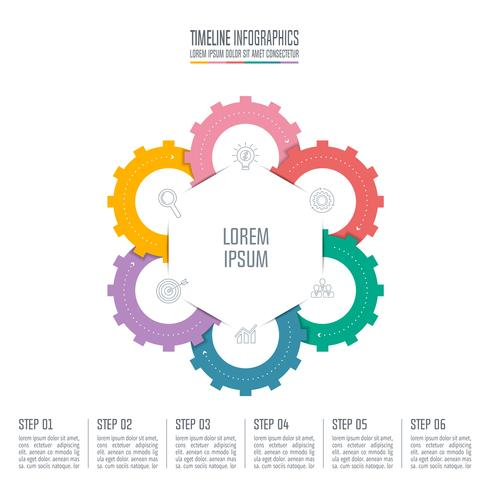 concetto di business design infografico con 6 opzioni. vettore
