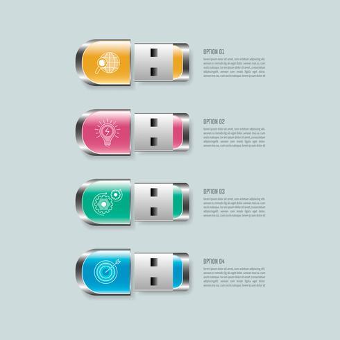 Concetto di business design infografico flash drive con 4 opzioni, parti o processi. vettore