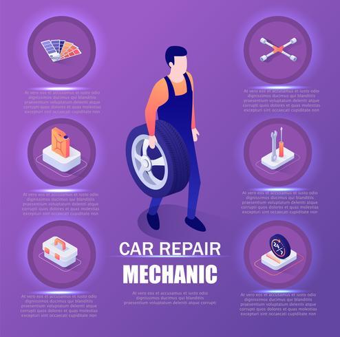 Meccanico di riparazione auto Infographic vettore