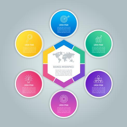 Concetto di business design infografica esagono e cerchi con 6 opzioni vettore