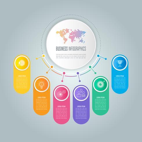 Concetto di business design infografica curva del mondo con 6 opzioni vettore