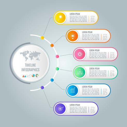 Cronologia mondiale Concept creativo per infografica con 6 opzioni, parti o processi. vettore