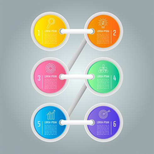 Firmi il concetto creativo della scala per infographic con 6 opzioni vettore