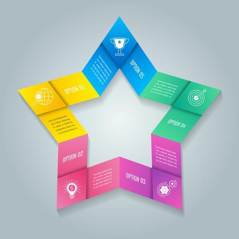 Star infografica concetto di business design con 5 opzioni, parti o processi. vettore