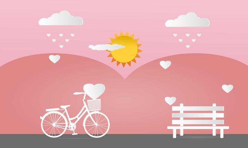 Palloncini a forma di cuore e bicicletta con panca su morbido sfondo rosa vettore