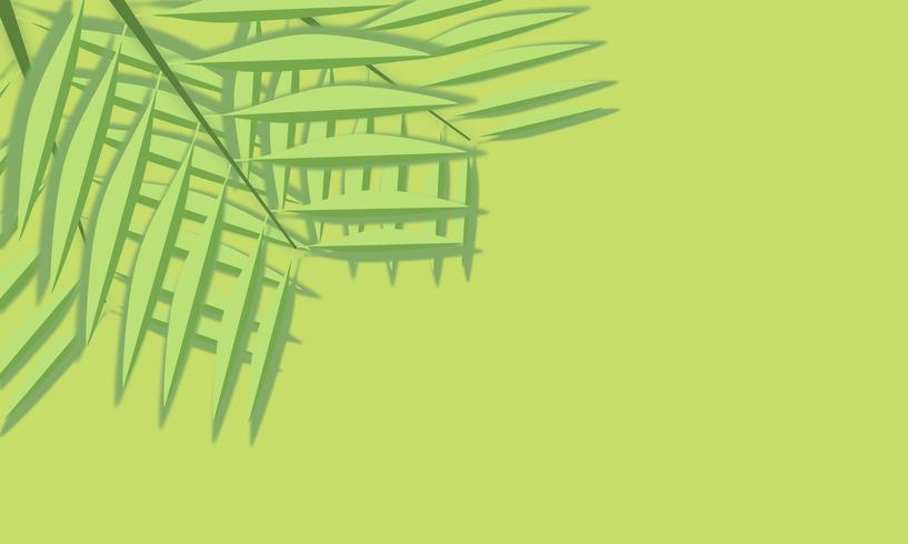 Foglie verdi tagliate carta su fondo verde vettore