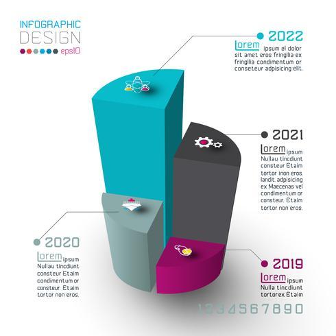 Cilindri isometrici colorati di infografica vettore