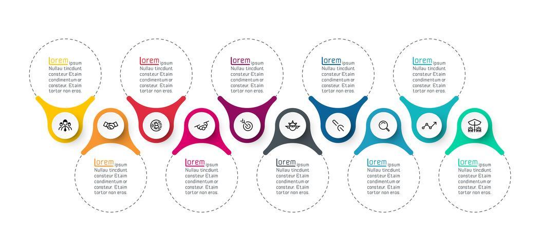 Grafica a barre infografica ad anello vettore