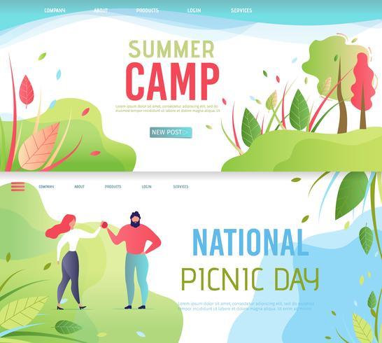 Insieme della pagina di destinazione del giorno del picnic nazionale vettore