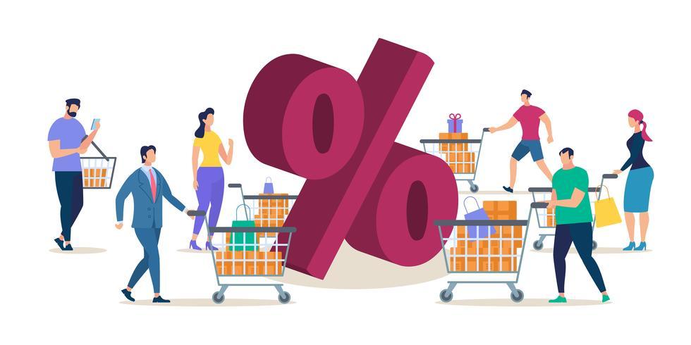 Shopping presso la vendita in negozio vettore