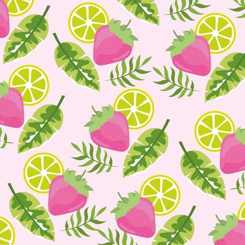 modello di frutti tropicali fragola e limone vettore